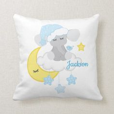 Blue Elephant Baby Boy Birth Stats Announcement Throw Pillow - toddler youngster infant child kid gift idea design diy