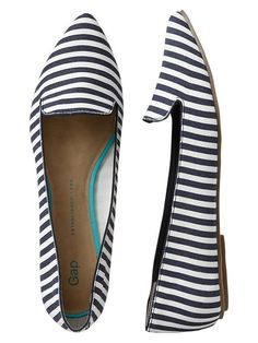 Gap Printed Pointy Flats - navy stripe by: Gap