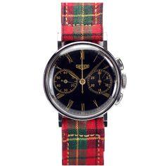 Heuer Lady's Miniature Chronograph Plaid Wrist Watch Scottish Plaid, Scottish Tartans, Scottish Dress, Tartan Fashion, Tartan Plaid, Vintage Watches, Houndstooth, Chronograph, Gingham