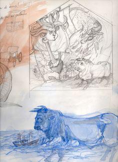 Ignacio Klindworth. Boceto para proyecto #mural. Mercado Central de #Cádiz. Keimfarben. Lápiz y acuarela sobre papel. Versos de Alberti. Cádiz 1996.www.ignacioklindworth.es