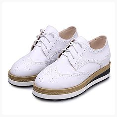 GIY Women Fashion Sneaker Wedge Thick Bottom Increased Height Platform Casual Brogue Shoes (*Partner Link)