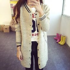 spring autumn Korean style women long sweater cardigan baseball jacket - Lupsona