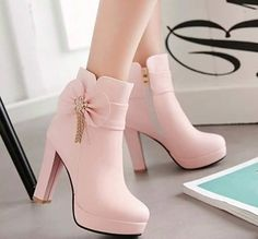 Nordstrom Heels - New Women Pink Round Toe Chunky Bow Fashion Martin Boots Find . - Nordstrom Heels – New Women Pink Round Toe Chunky Bow Fashion Martin Boots Find More Ideas at myc - High Heel Boots, Heeled Boots, Shoe Boots, Boot Heels, Platform Ankle Boots, Pretty Shoes, Beautiful Shoes, Kawaii Shoes, Martin Boots