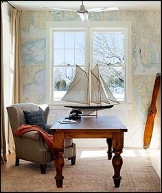 Harmony Green House Design in White: Awesome Contemporary Home Office Design Concord Green Home Nautical Interior, Nautical Home, Nautical Chart, Nautical Office, Coastal Interior, Nautical Design, Nautical Mirror, Beach Office, Nautical Prints