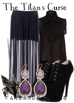 Outfit inspired by the book cover of The Titan's Curse by Rick Riordan Fandom Fashion, Geek Fashion, Fashion Outfits, Percy Jackson Outfits, Percy Jackson Fandom, Themed Outfits, Inspired Outfits, Disney Inspired Fashion, Quirky Fashion