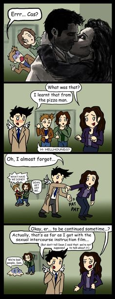 Cas vs Meg SPOILERS by blackbirdrose  -   I love this!!  Poor Dean just couldn't handle the guilt.  Hahahaha.