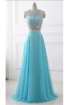Prom dresses sleeveless - Blue Two Piece Chiffon Beaded Sparkle Long Prom Dress,Two Piece Round Neck Sleeveless Junior Party Dress,Formal Gowns – Prom dresses sleeveless Prom Dresses Two Piece, Pretty Prom Dresses, Prom Dresses For Teens, Prom Dresses Blue, Dance Dresses, Evening Dresses, Beautiful Dresses, Chiffon Prom Dresses, One Piece Gown