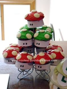 Homemade Super Mario Mushroom Cupcakes: I made these homemade Super Mario Mushroom cupcakes for my son's 5th birthday since we were doing a Super Mario Brothers theme.  I iced them with butter