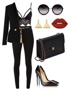 """Black and gold"" by amoney-1 ❤ liked on Polyvore featuring Club L, Victoria Beckham, Yves Saint Laurent, Balmain, Chanel, Christian Louboutin, GlassesUSA, Lime Crime and ChloBo"