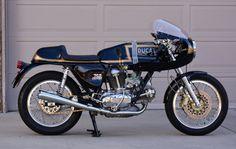Look Twice – 1974 Ducati 750 GT – Bike-urious Moto Ducati, Ducati Cafe Racer, Cafe Bike, Ducati Motorcycles, Vintage Motorcycles, Cafe Racers, Vintage Bikes, Custom Motorcycles, Custom Bikes