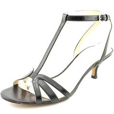 Nine West Women's 'Odarlin' Leather Sandals ($58) ❤ liked on Polyvore featuring shoes, sandals, black, black sandals, high heel sandals, black strap sandals, black shoes and strappy high heel sandals