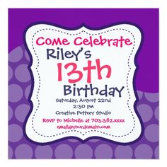 422 best purple pink birthday party invitations images on pinterest