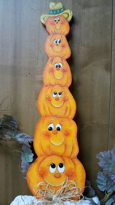 painted wooden pumpkins | Painted Wooden Pumpkins For Halloween Decorations by AshBeesCrafts