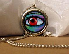 Eye Art Necklace, Red Eye Pendant, Fantasy Eye Necklace, Red Fantasy Eye, Fantasy Artwork, Art Pendant, Floating Charm, Fantasy Pendant by NanaFantasyJewelry on Etsy