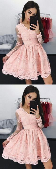 V-Neck Long Sleeves Short Dresses,Pink Lace Short Homecoming Dresses