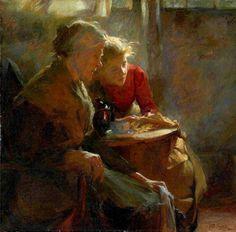 """""""Fireside Tales"""", 1896 ~ Pintura de Frank Bramley  (Inglês: 1857-1915)"""