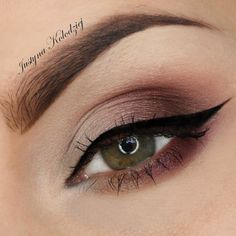 Perfectly flicked cat eye is made more stunning when combined with neutral eyeshadow. See the essentials needed to recreate this day to night appropriate eye makeup.