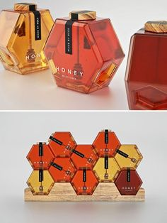 Packaging designed by Maksi MarbuzovPerfume inspired honeycomb bottles. Packaging designed by Maksi Marbuzov Packaging Carton, Clever Packaging, Honey Packaging, Food Packaging Design, Bottle Packaging, Packaging Design Inspiration, Brand Packaging, Packaging Ideas, Skincare Packaging