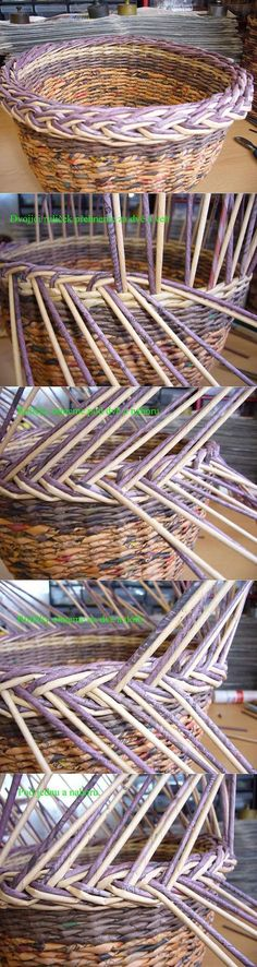 Weaving from newspapers - - Baskets Ideas Recycle Newspaper, Newspaper Basket, Newspaper Crafts, Willow Weaving, Basket Weaving, Hobbies And Crafts, Diy And Crafts, Magazine Crafts, Paper Weaving
