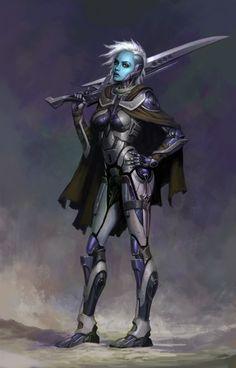 f Drow Elf Fighter Soldier Heavy Armor Cloak Sword underdark lg Alien Character, Cyberpunk Character, Character Art, Fantasy Warrior, Sci Fi Fantasy, Fantasy Character Design, Character Inspiration, Space Opera, Female Armor