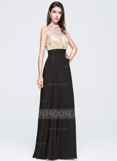A-Line/Princess High Neck Floor-Length Beading Sequins Zipper Up Strapless Sleeveless No 2015 Champagne Spring Summer General Plus Chiffon Prom Dress