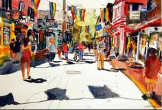 This is an abstract depiction of the busy street of Provincetown in Cape Cod. The watercolor landscape is drawn in black ink with abstract washes. Flags fly overhead as people leisure on the streets to shop, to bike, to look at art or just be. The illustration of the street scene includes gay pride flags and would make excellent wall art for your modern home decor. The popular beach town is at the end of Cape Cod and is well known for attracting artist from around the globe. by Mimistudio…
