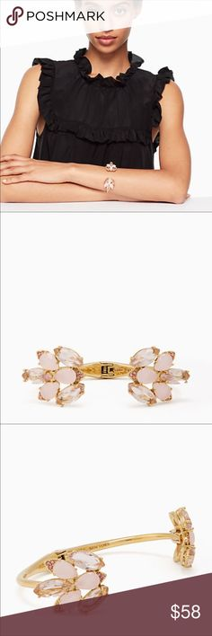 Kate spade Blushing Blooms rose gold hinge cuff Beautiful pink & clear stones form the petals of a flower on each end! Pair it with other rose gold jewelry for sale in my closet! kate spade Jewelry Bracelets