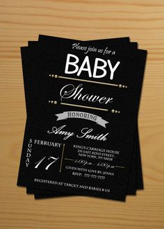 Neutral Baby Shower Invitations - free thank you cards, printable black white gold. $10.00, via Etsy.