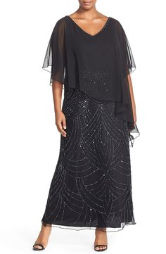 J Kara Chiffon Overlay V-Neck Beaded Gown (Plus Size)