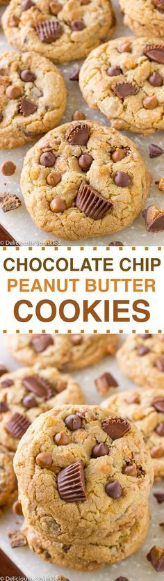 The BEST Chocolate Chip Peanut Butter Cookies - packed with peanut butter chocolate chips, salted caramel peanuts and loads of Reese's peanut butter cup chunks.