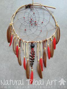 Capteur de rêves daim, perle en bois, plumes de faisan doré (AR0211) - Natural…