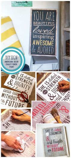 New Americana Chalky finish handpainted rustic sign DIY with video tutorial on printing sections of large artwork with Photoshop. Brought to you by NBC's American Dream Builders, Hosted by Nate Berkus.