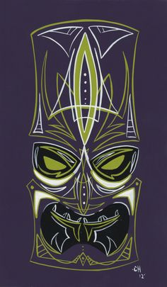 Purple Pinstriped Tiki mask by HernandezDesigns on Etsy, $30.00
