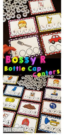Bossy R bottle cap centers are SO much for practicing reading words with R controlled vowels