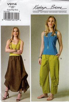 Vogue 9114 Free Us Ship Sewing Pattern Baggy Funky Cargo Pants Skirt Size l xl xxl 16/26 16 18 20 22 24 26 Waist 30-41.5 plus by LanetzLiving on Etsy