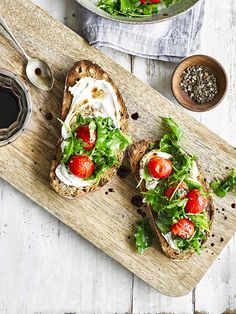 This recipe for ricotta toast with kale and cherry tomatoes makes a great meal for It's veggie and low cal, so ticks a lot of the midweek boxes