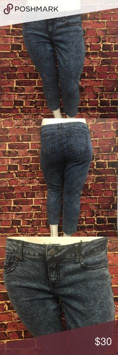 """{Sz 16, 18, 20, 22} Torrid Acid Wash Capris Cute and trendy acid wash capris from Torrid! 5 pocket construction. Skinny jeans fit. New with tags, never worn. Undamaged. Smoke and pet free home. Measurements taken laid flat. Size 16: 19"""" waist. 22.5"""" hips. 25"""" inseam. 10"""" rise. Size 18: 18.5"""" waist. 23"""" hips. 25"""" inseam. 10.25"""" rise. Size 20: 20"""" waist. 24"""" hips. 25"""" inseam. 10.5"""" rise. Size 22: 21"""" waist. 25.5"""" hips. 11.25"""" rise. 79% cotton. 19% polyester. 2% spandex. Stretchy. torrid Jeans…"""