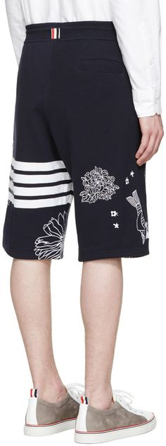 Thom Browne - Navy Koi & Chrysanthemum Shorts