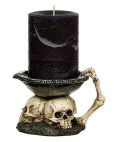 No bones about it: with this durable candleholder you& be armed with creepy charm for the holiday season. Gothic Home Decor, Diy Home Decor, Room Decor, Skull Decor, Skull Art, Halloween Crafts, Halloween Decorations, Happy Halloween, Halloween Halloween