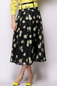 WithChic Yellow Floral Printed Chiffon Skirt