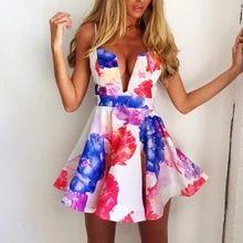2014 letné New Fashion Flower Print šaty Šaty V Neck Sexy Mini Dress Ladies Party Vestidos Casual Club Šaty (Čína (pevninská časť))