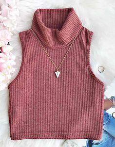 $15.99 Only with free shipping Now! If you're looking for sexiness with warmth, the Cupshe Turning For You Knitting Vest is the answer! This crop top comes in ribbed knitting&turtle neck! So chic&warm at Cupshe.com