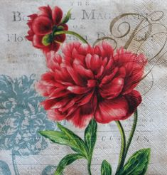 4 Peony Paper Napkins, Decoupage Napkins, Floral Paper Napkin, Scrapbooking Paper, Collage Napkins, Napkin for Decoupage (RED PEONY)
