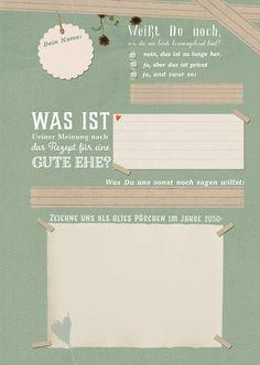 """Wer will in seinem Hochzeitsgästebuch schon 50 x hintereinander """"Alles Gute zur Hochzeit"""" lesen? Stimmt! Keiner. Zur Erinnerung für euch beide und zur spaßvollen und sinnvollen Beschäftigung..."""