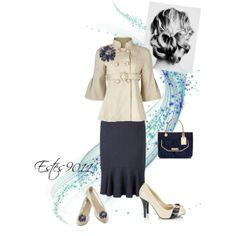 """Cream & Navy"" by estes9011 on Polyvore"
