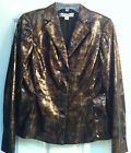 ✔✾ Women's Jacket Size 4 BLUE #ICE Reptile Print Evening Bronze #Gold #Copper Collar http://ebay.to/1NFbe3c