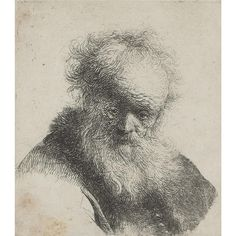 Rembrandt Harmenszoon van Rijn, Bust of an Old Man with Flowing Beard and White Sleeve, ca. Etching on paper Rembrandt Etchings, Rembrandt Drawings, Rembrandt Art, Harvard Art Museum, Dutch Painters, Art Moderne, Matisse, Easy Drawings, Figure Drawings