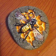 #rockpainting #rockart #honeybee #bee