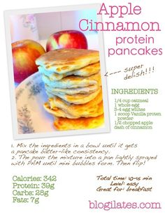 Healthy and delicious! The best kind of food! Pancake Proteine, Protein Pancakes, Banana Pancakes, Protein Snacks, Cinnamon Apples, Cooking Recipes, Healthy Recipes, Bariatric Recipes, Healthy Food