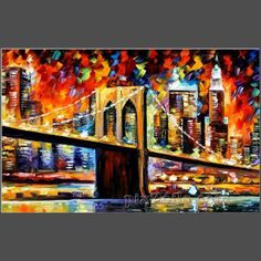 abstract oil painting BROOKLYN BRIDGE (buy directly)-in Painting & Calligraphy from Home & Garden on Aliexpress.com